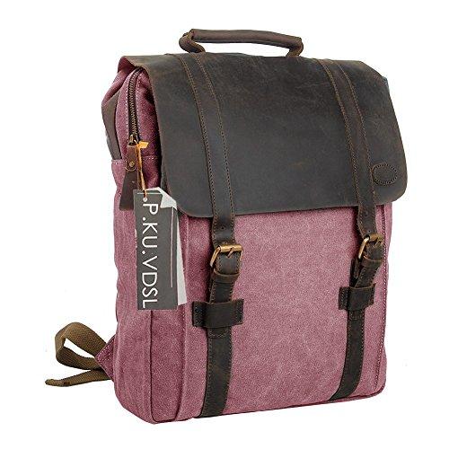 Imagen de  vintage de lona zainotelavintage p.ku.vdsl®  tipo casual y cuero bolso casual para viajes bolsa de escuela unisex  de a diario portátil bolsa adecuada para 15' cuaderno rosa