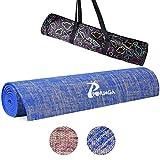 POVUMGA Yogamatte Gymnastikmatten Fitnessmatte Anti-Rutsch inkl. Wasseranziehende Tragetasche 61 * 183 * 0.5cm in Blau