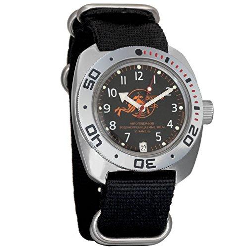 Vostok Militar Ruso Diver para Hombre de Anfibios Amphibia Reloj de Pulsera Negro Nailon # 71380Scuba Dude