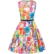 Kate Kasin Vestido Vintage Estampado de Niñas Años 50 para Fiesta Cóctel Vestido Algodón de Verano
