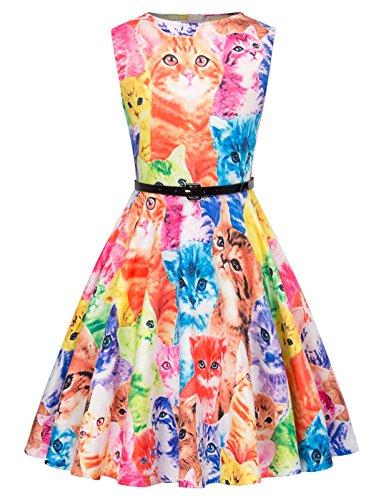 Kate Kasin Fashion Maedchen Retro Ballkleid Abendkleid mit Guertel 9-10 Jahre KK884-1