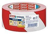 tesa Signal Markierungs- und Warnklebeband, rot-weiß, 66m x 50mm