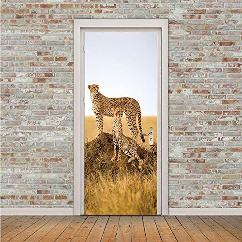 zpbzambm Kreative Tier Cheetah Leopard Tür Aufkleber Korridor Tapete Poster Wandaufkleber Büro Schlafzimmer Wohnzimmer Dekoration 90X200 cm