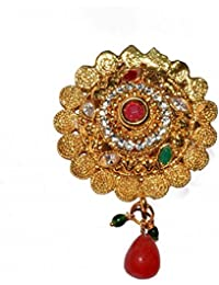 SV Sons Saree Pin Brooch For Women & Girls, Gold Tone, Round Shaped - B07DPPG7NW