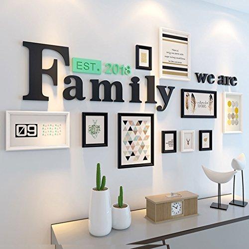 Nordic minimalistische moderne Holz Foto Wand, kreative Familie Foto Frame Wand Kombination, Wohnzimmer Schlafzimmer Foto Wandrahmen Wand, 169 * 92cm ( Color : B )