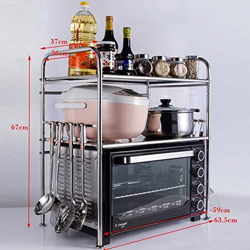 CWJ Edelstahl-Mikrowellenherd-Gestell-Ofen-Regal-doppelte Schicht-Küche liefert Speichergestell, Gewürz-Gestell-Wannen-Geschirr-Abfluss-Regal-Tabellen-Speicher-Regal,3-schichtig,Groß - 3 Regal-große Tabelle