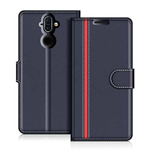 COODIO Nokia 8 Sirocco Hülle Leder Lederhülle Ledertasche Wallet Handyhülle Tasche Schutzhülle mit Magnetverschluss/Kartenfächer für Nokia 8 Sirocco, Dunkel Blau/Rot