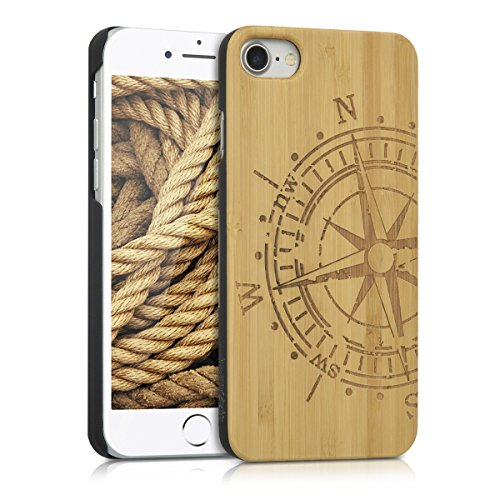 kwmobile-schutzhlle-fr-apple-iphone-7-holz-kunststoff-hardcase-cover-handy-hlle-mit-kompass-design-b