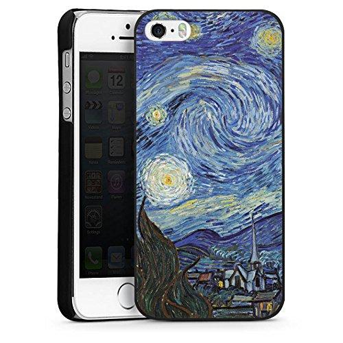 Apple iPhone 5s Housse Étui Protection Coque Vincent van Gogh La Nuit étoilée Art CasDur noir