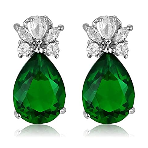 Jewellery Pear Cut Green Emerald Color Gemstone Fine CZ 18K White Gold Plated Prom Teardrop Dangle Drop Earrings Simple Modern Elegant Pierced [Free Jewelry Pouch] (Purple