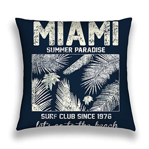 rongxincailiaoke Kissenbezüge Throw Pillow Cover Pillowcase Miami Beach Typography floral prin Print Fashion Style Sofa Home Decorative Cushion Case 18