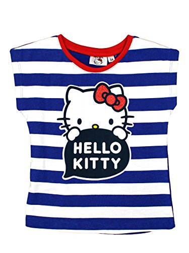 Hello Kitty Official Girls T-Shirt Short Sleeves 4Years Blue Stripes (Blue Shirt Short Sleeve Stripe)