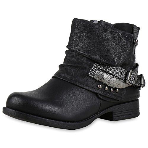 Damen Biker Boots Stiefeletten Prints Profil Sohle Block Absatz Schwarz Silber