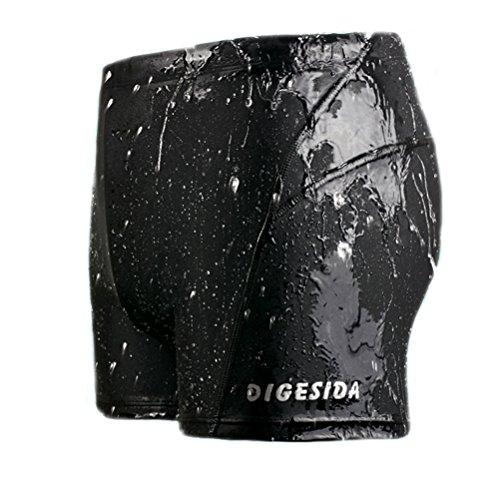 Double Dry Sport-shorts (Tuopuda Herren Schwimmhose Volltonfarbe Quick Dry Badehosen Badeshorts Surfer Boardshorts (3XL, Schwarz))