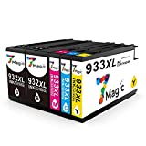 7Magic Set Druckerpatronen Komptibel für HP 932XL 933XL Druckerpatrone Hohe Kapazität Kompatibel für HP Officejet 6100 6600 6700 7110 7610 7612 Serie Drucker(2 Schwarz 1 Cyan 1 Magenta 1 Gelb)