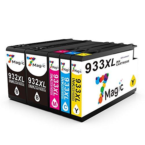 7Magic Cartuchos de Tinta HP 932XL 933XL Compatible con Actualizado Chip para HP Officejet 6100 6600 6700 7110 7510 7610 7612