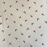 Hirsche rot Design Baumwolle Rich Leinen Look Stoff für Vorhänge Jalousien Craft Quilting Patchwork & Upholstery 139,7cm 140cm breit, Meterware,