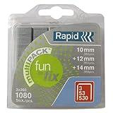 Rapid, 40108719, Agrafes Multipack, Longueur 10-14mm, 1080 pièces, Pour le textile et la décoration, Fil galvanisé, Haute performance
