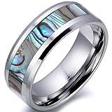 JewelryWe Schmuck 8mm Breite Herren-Ring Wolframcarbid Ring Hochglanz mit Seeohr Inlay Engagement Hochzeit Band Größe 57