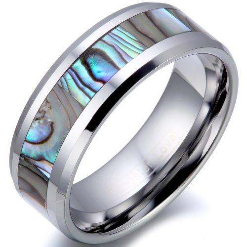 JewelryWe Schmuck 8mm Breite Herren-Ring Wolframcarbid Ring Hochglanz mit Seeohr Inlay Engagement Hochzeit Band Größe 65 - Damen-verlobungsringe, Größe 11