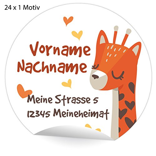 24 tolle, Custom Kinder Adress-Aufkleber mit Giraffe und Herzen, MATTE Papier Sticker mit ihrem Text nach Wunsch universal Etiketten, Namensschilder (4,5cm)