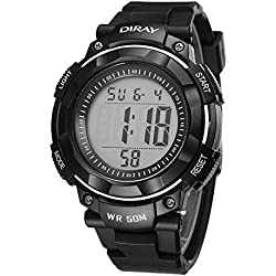Unisex Sports Analog Digital Luminous Water Resistant Wrist Watches for Boys Girls(Black)