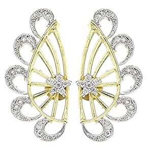 Youbella Gold Plated American Diamond Ear Cuffs Earrings For Women And Girls