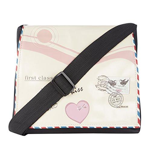 Shagwear borsa tracolla per giovani donne, Cross Body Bag: lettera d'amore Beige/Love Letter
