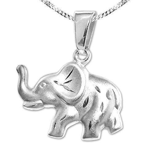 CLEVER SCHMUCK Set Silberner Anhänger Elefant 16 x 10 mm vorn matt diamantiert - hinten glänzend (beidseitig tragbar) mit Kette Panzer 45 cm Sterling Silber 925