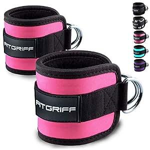 FITGRIFF - Cavigliere fitness imbottite per trazioni (2 pezzi) - per donne e uomini - garanzia a 2 anni - Grigio camouflage