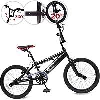 Bicicletta BMX - Black Phantom Nero, Ruote da 20 Pollici, Manubrio a 360°, 4 Pioli, Freno a V - Bici BMX, Bici da Freestyle, Bike