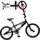 Vélo BMX | 20 Pouces, Guidont pivotant à 360°, Freins V Brake, 4 Pegs, Noir | Bicyclette Vélo Freestyle, BMX Bike