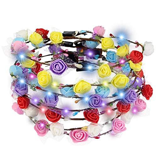 Haar Kostüm Leuchtend Rote - BUZIFU 7 Stück LED Blumen Kranz Stirnband Kranz Kopfschmuck mit 3 Beleuchtungsmodi für Festival, Hochzeit, Braut, Kind, Nachtparty Durchmesser 17cm (Bunt)