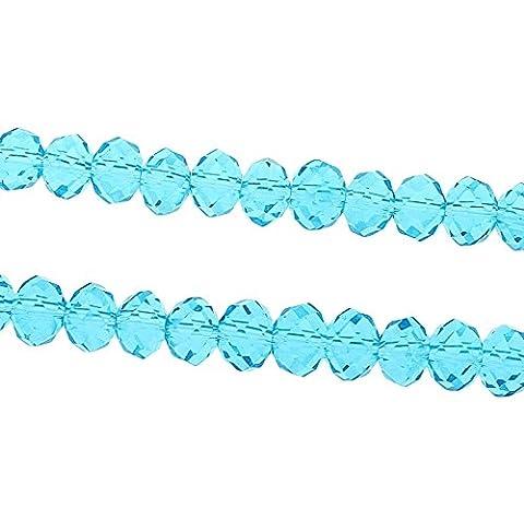 20 TSCHECHISCHE KRISTALL FACETTIERT GLASPERLEN 8mm Aquamarine Blau RONDELL