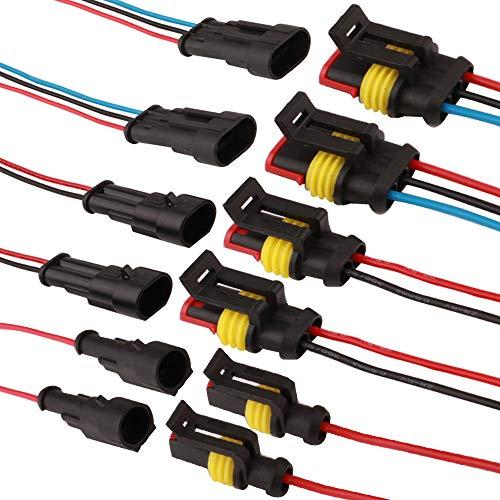 RUNCCI 1/2/3 Pin Auto Impermeabile Connettore, 1/2/3 Pin Elettrico Connettore Kit, con Filo, PA66 Nylon Impermeabile Connettore Isolato e Sigillato, per Auto Camion Marina Moto