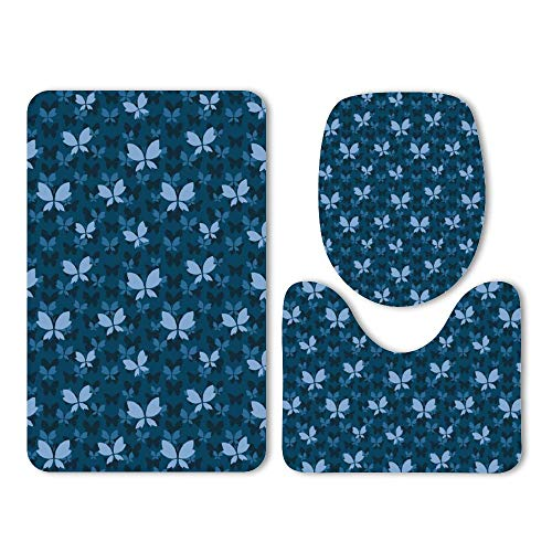 Yilooom 3-Pack Bath Mat Set, Butterfly Silhouettes Cute Spring Nature Absorbent Memory Foam Soft Shower Bath Rugs Contour Mat and Lid Cover,Non Slip Velvet Bathrug,Shower Toilet Bathmats Carpet