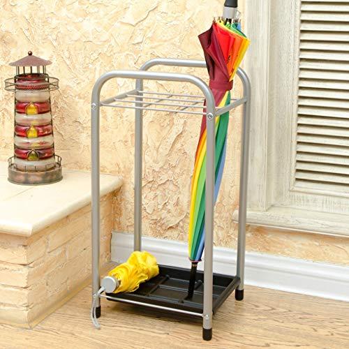 LXRZLS Silberner traditioneller Design-Metallschirm und Spazierstockständer Home-Office-Flur-Lagerung mit einem unteren Regenwasser-Leck-Tray 11,6x22 Zoll (29,5 cm x 58 cm). 22 In Trays