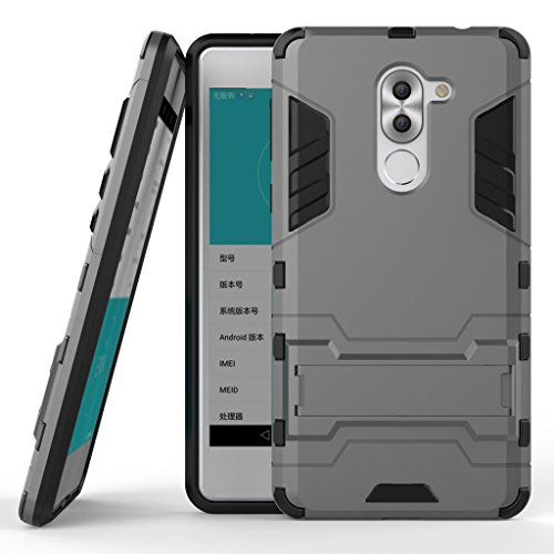 HUAWEI Mate 9 Lite Armor Hülle DWaybox 2 in 1 Hybrid Heavy Duty Hard Back Schutzhülle Hülle with kickstand für HUAWEI Honor 6X 2016 / Mate 9 Lite Premium Edition 5.5 Inch (Gray)