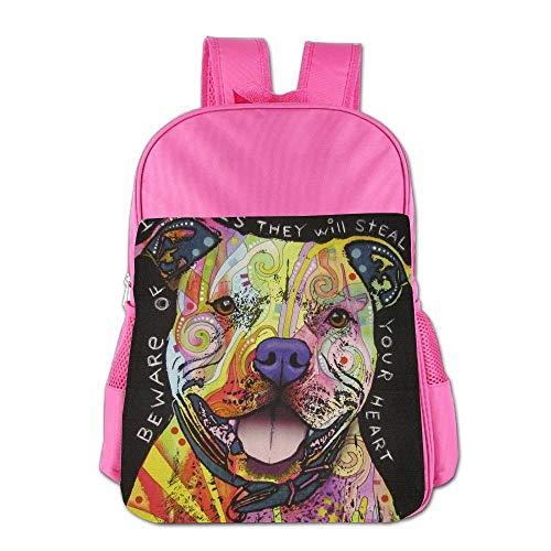 Colorful Art Animal Pitbull Dog Children School Backpack Carry Bag for Youth Boy Girls