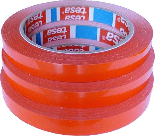 3 Rollen Klebeband Markierungsband tesafilm 4204 PVC rot, 12mmx66m | Ideal für Tischabroller und Beutelverschlußmaschinen