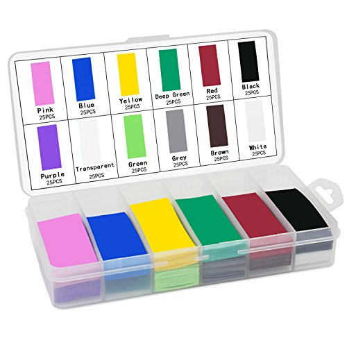 KEESIN 29.5mm flache PVC-Schrumpfschlauch-Batterie-Verpackungs 12 Farben 300 Stücke für 18650 18500 Batterie (300P) -