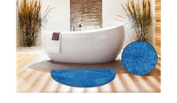 Half Moon Shape Blue Bath Mat 50 X 80 Cm Amazoncouk Kitchen Home