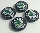 4x Skoda grün Logo Emblem 65mm Badge Mitte Hub Kappen Staub Abdeckungen
