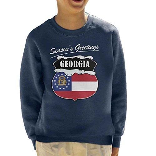 Seasons Greetings Georgia State Flag Christmas Kid's Sweatshirt (State Flag Sweatshirt)