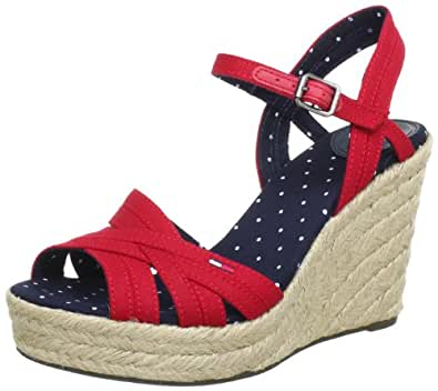 Hilfiger Denim LIVELY 4B EN56815343, Damen Sandalen, Rot (RIBBON RED 609), EU 37