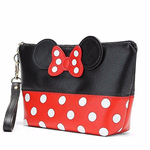 YIY Kosmetiktasche mit Minnie-Maus-Fliege, mit Reißverschluss, wasserdicht, zum Reisen, multifunktional, zum Aufbewahren von Make-up, für Mädchen
