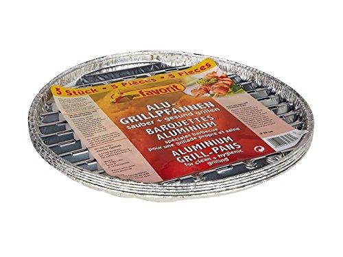 Favorit 1816 Grillpfanne Alu rund 34 cm; perfekt für jeden Rundgrill; hergestellt aus Aluminium; geeignet für Fisch, Fleisch und Gemüse; der sauberen und gesunden Grillgenuss; 5 Stück
