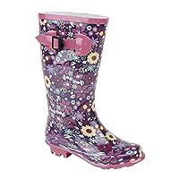 Stormwells Girls Floral Print Wellington Boots Pink/Mulberry UK 2 (Junior)