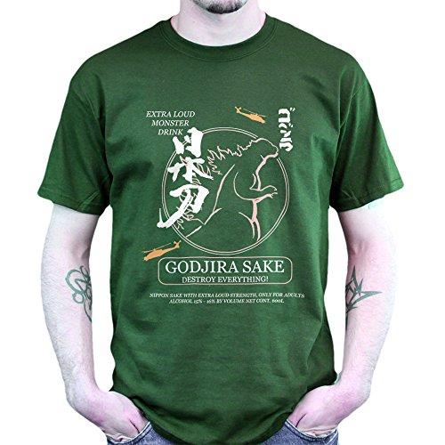 Godjira God Zilla Sake Japan T-shirt Jungle Green