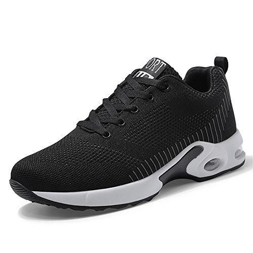 kashiwu Frauen Air Sport Laufschuhe Shock Absorbing Trainer Lauf Jogging-Trainer Unisex Sporttrainer Fitness Leichte Schuhe (37 EU, Schwarz-5)
